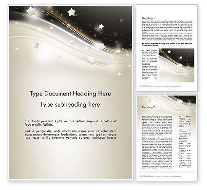 Stars on Gray Theme Word Template, 12083, Holiday/Special Occasion — PoweredTemplate.com