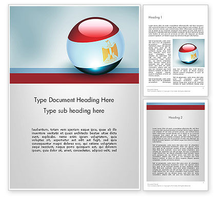 Flags/International: Ball With Flag Of Egypt Word Template #12088
