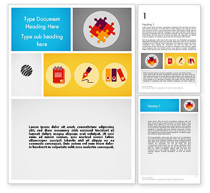 Presentation with Flat Icons Word Template, 12091, Business Concepts — PoweredTemplate.com