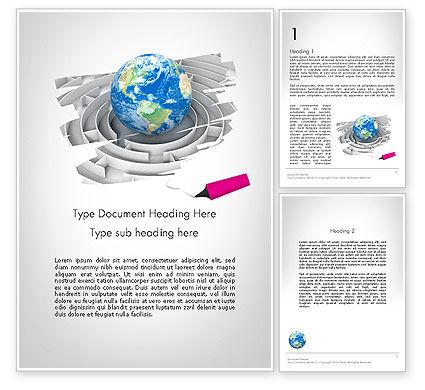 Earth in Maze Word Template, 12095, Global — PoweredTemplate.com