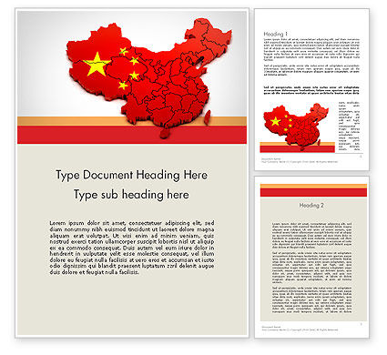 Flags/International: Kaart Van China Word Template #12114