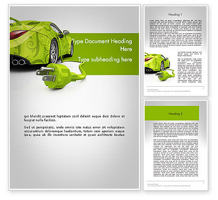 Green Automotive Innovations Word Template, 12118, Cars/Transportation — PoweredTemplate.com