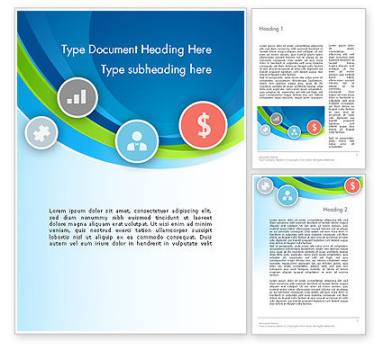Financial/Accounting: Abstract Waves with Flat Icons Word Template #12159