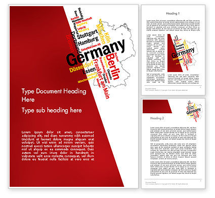 Germany Map and Cities Word Cloud Word Template, 12177, Flags/International — PoweredTemplate.com