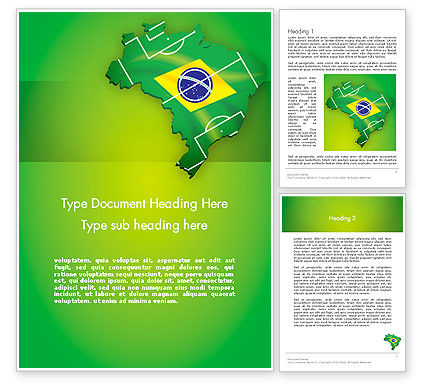 Brazil Flag Map with Football Field Word Template, 12200, Flags/International — PoweredTemplate.com