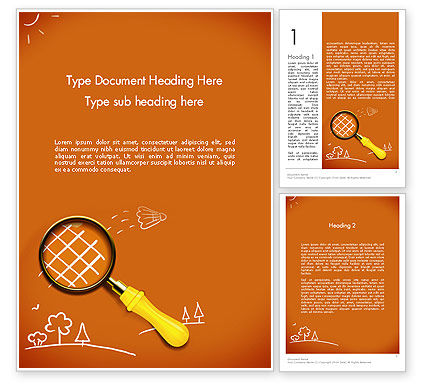 Racket with Magnifying Glass Word Template