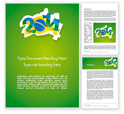 2014 Brazil World Cup Word Template, 12216, Holiday/Special Occasion — PoweredTemplate.com