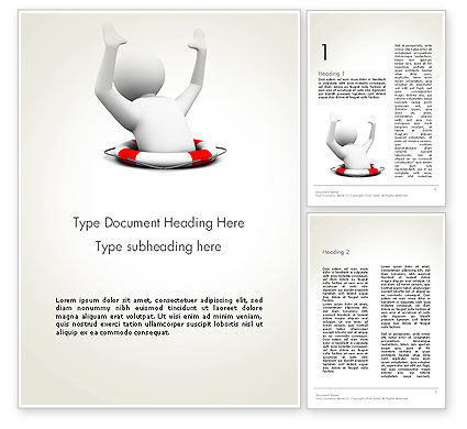 Consulting: Drowning Man with Lifebuoy Word Template #12221