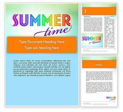 Holiday/Special Occasion: Summer Disco Theme Word Template #12224