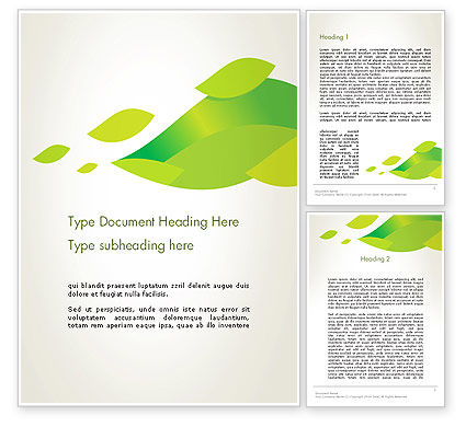 Abstract/Textures: Bright Green Leafs Word Template #12230