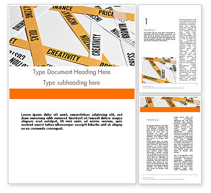 Business Concepts: Paper Strips with Project Related Words Word Template #12239
