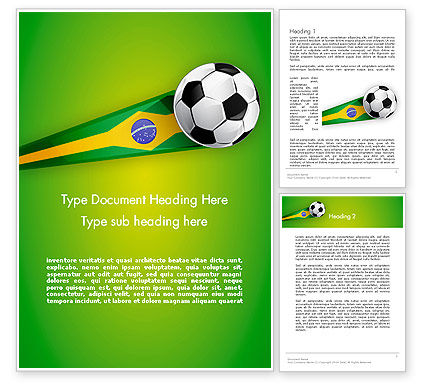 Brazilian Football Word Template, 12240, Sports — PoweredTemplate.com
