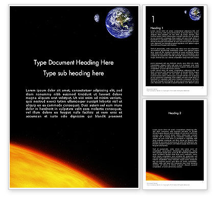 Earth and Sun Word Template, 12245, Technology, Science & Computers — PoweredTemplate.com