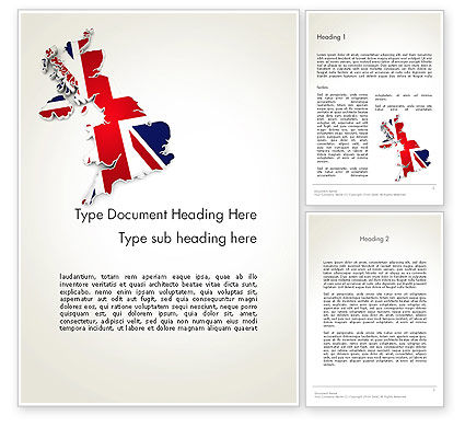 Great Britain Flag Map Word Template