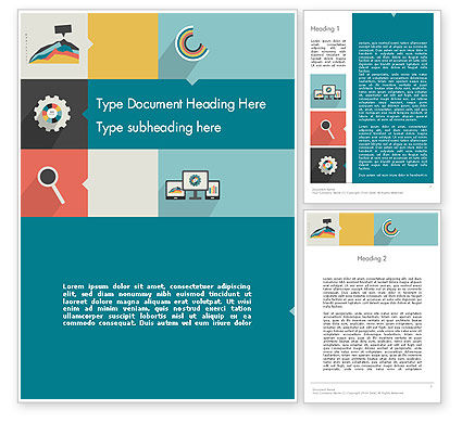 Business Concepts: Process with Flat Icons Word Template #12302