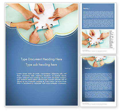 Business Concepts: Business Hands Working with Document Word Template #12323