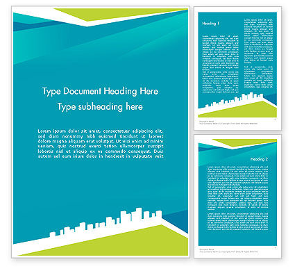 City Skyline Word Template, 12330, Business — PoweredTemplate.com