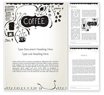 Coffee Doodles Word Template, 12366, Food & Beverage — PoweredTemplate.com