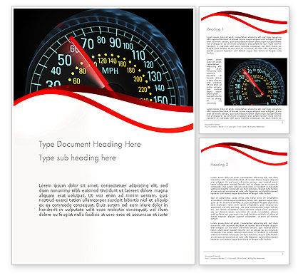 Car Speedometer Word Template, 12372, Cars/Transportation — PoweredTemplate.com