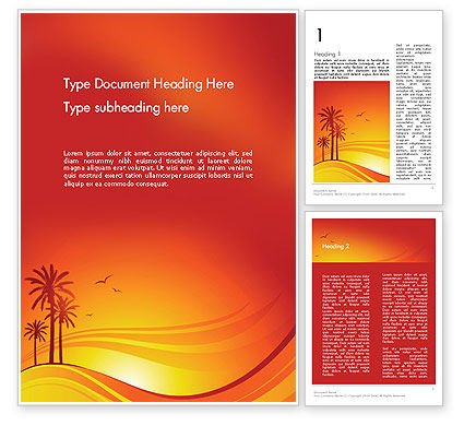 Palms on Sunset Word Template, 12378, Nature & Environment — PoweredTemplate.com