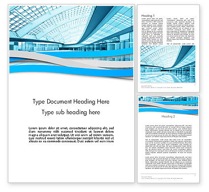 Modern Office Building Corridor Word Template, 12396, Construction — PoweredTemplate.com