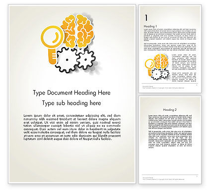 Working Brain Word Template, 12405, Business Concepts — PoweredTemplate.com
