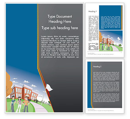 Education & Training: High School Building and Students Word Template #12409