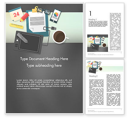Business: Workspace Top View Word Template #12410