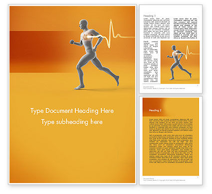 Jogging and Heartbeat Word Template, 12441, Medical — PoweredTemplate.com
