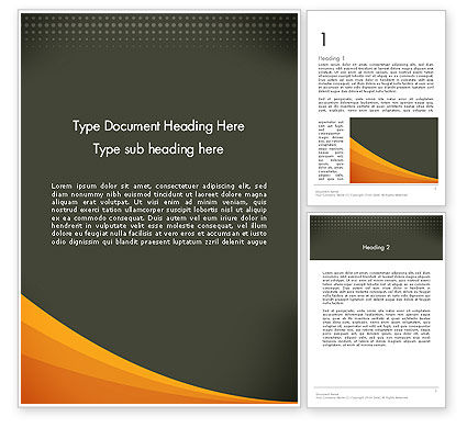 Orange Wave on Gray Word Template, 12482, Business — PoweredTemplate.com