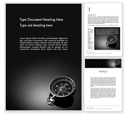 Business Concepts: Black and White Compass Word Template #12495