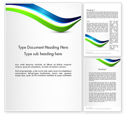 Abstract/Textures: 绿色和蓝色的波浪Word模板 #12507