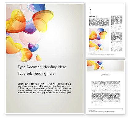 Holiday/Special Occasion: Abstrakte blaue und orange herzen Word Vorlage #12512