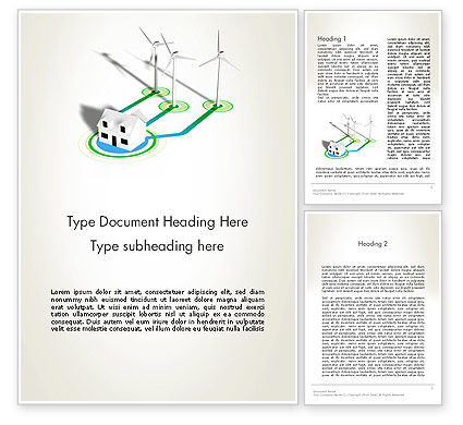 Technology, Science & Computers: Wind Turbines Powering House Word Template #12518