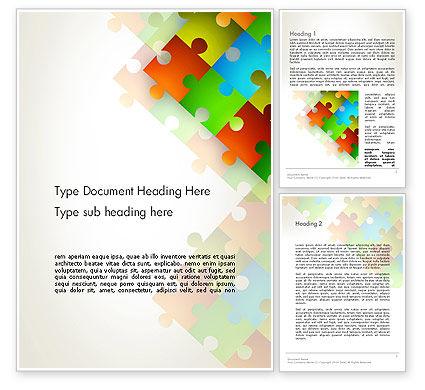 Abstract/Textures: Plantilla de Word - resumen piezas de puzzle flotante #12519