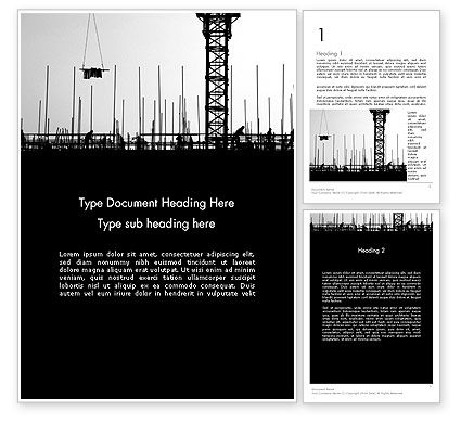 Construction Workers Silhouettes Word Template, 12527, Construction — PoweredTemplate.com