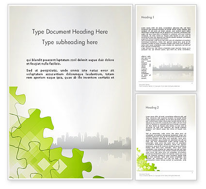 Puzzle Pieces on City Background Word Template, 12552, Business Concepts — PoweredTemplate.com