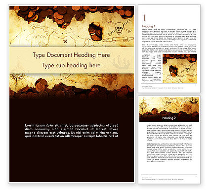 Pirate Treasure Map Word Template, 12567, Global — PoweredTemplate.com