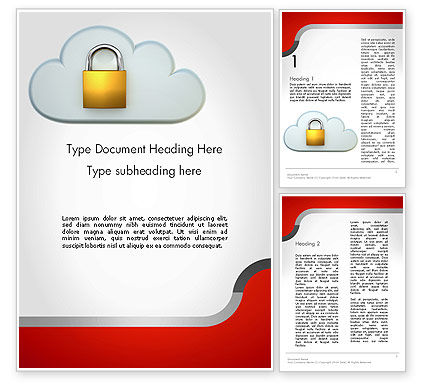 Protected Cloud Data Word Template, 12573, Technology, Science & Computers — PoweredTemplate.com