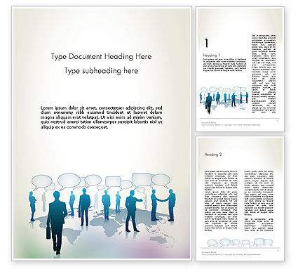 People Silhouettes with Speech Bubbles Word Template, 12578, People — PoweredTemplate.com