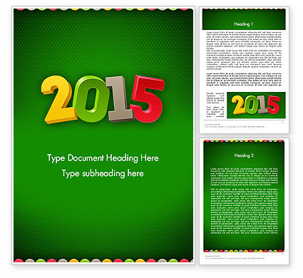 2015 Colored Numbers Word Template, 12622, Holiday/Special Occasion — PoweredTemplate.com