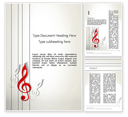 Art & Entertainment: Templat Word Red Treble Clef #12637