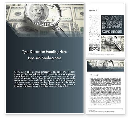 Dollar Through Magnifier Word Template, 12653, Financial/Accounting — PoweredTemplate.com