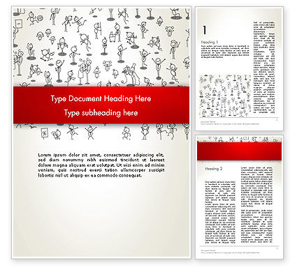 Art & Entertainment: Funny Stickman Background Word Template #12658