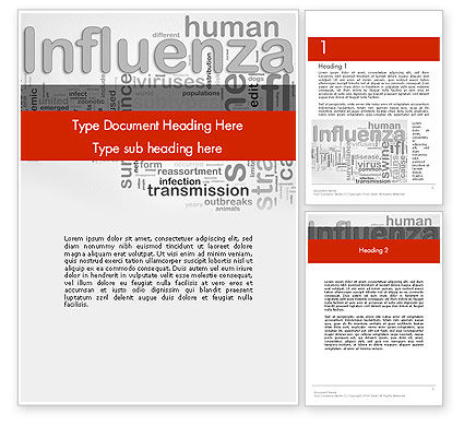 Medical: Influenza Word Cloud Word Template #12665