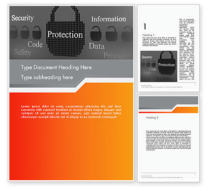 Technology, Science & Computers: Data Security and Protection Word Template #12669