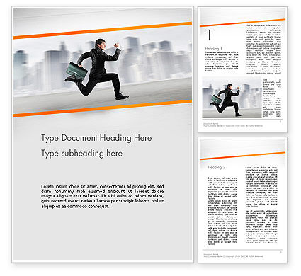 Business Concepts: Rushing Businessman Word Template #12672