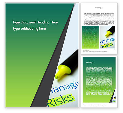 Managing Risks Word Template, 12675, Careers/Industry — PoweredTemplate.com