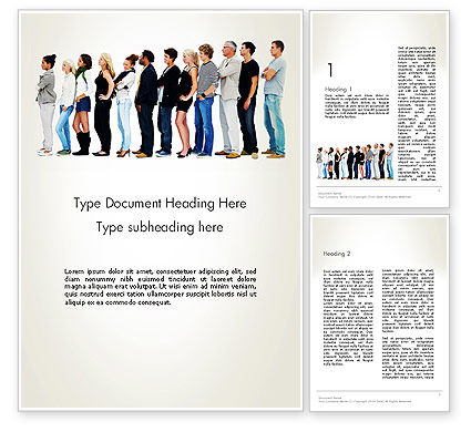 People Standing in Line Word Template, 12687, People — PoweredTemplate.com