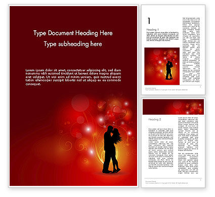 Love Theme with Silhouette of Lovers Word Template, 12688, Holiday/Special Occasion — PoweredTemplate.com